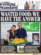 London Evening Standard Newspaper Front Page (UK) for 21 September 2016