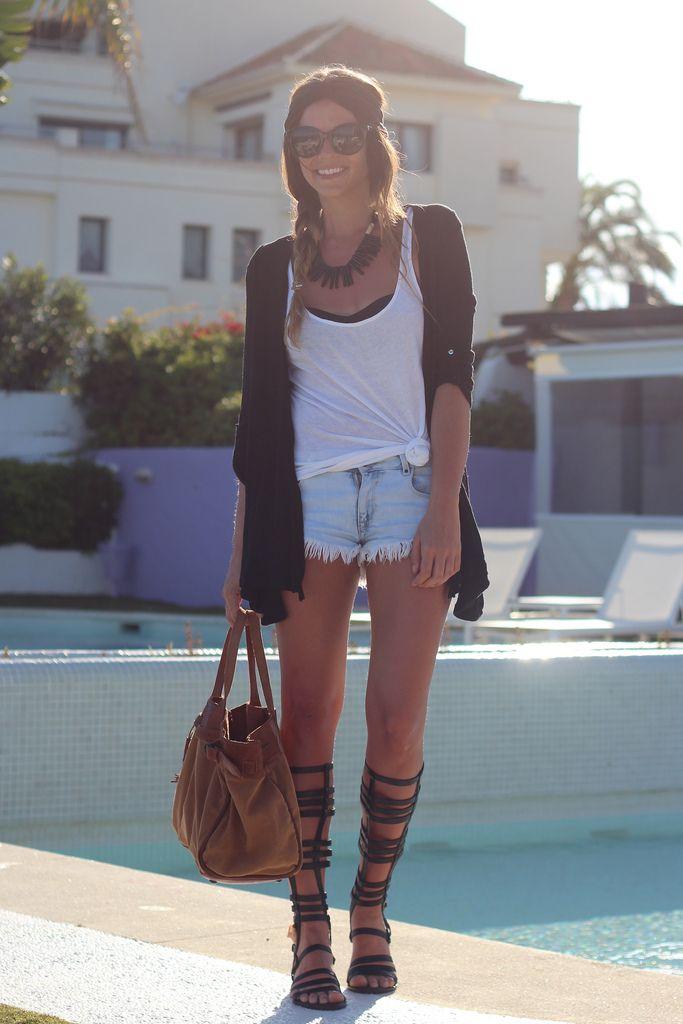Frayed Jean Shorts Gladiator Sandals Shoes Heels