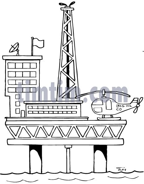 coloring image of oil rig