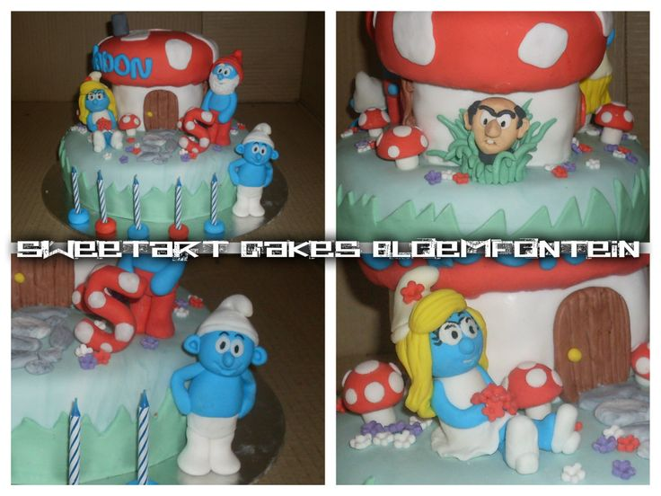 SMURF HOUSE CAKE. For more information & orders please direct all inquiries to SweetArtbfn@gmail.com