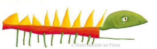 Het-Monster-met-de-Duizend-Groene-Poten / Thousand-Green-legged-Monster.    Een samenwerking tussen een illustrator en een zesjarig jongetje. / A collaboration between an illustrator and a six year old boy