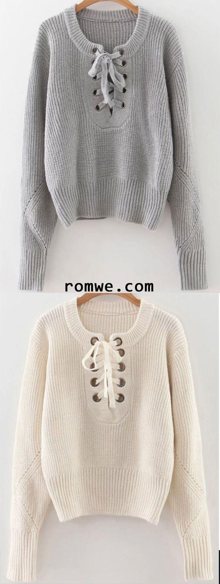 Eyelet Lace Up Ribbed Trim Sweater