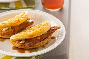 Chicken 'n Waffle 'Tacos' Recipe - Kraft Recipes As unappealing as these sound, might be a fun thing for my son and my nephew to eat