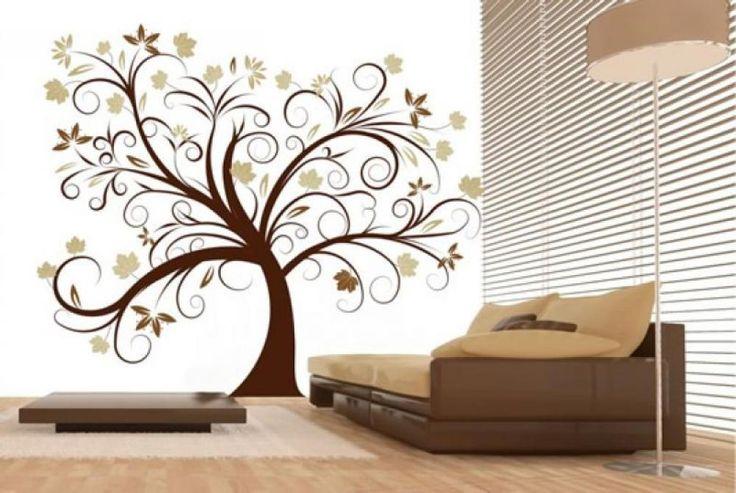 Amazing-Tree-Modern-Wall-Decor-Ideas-Brown-Sofa.