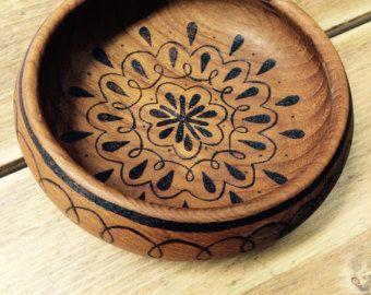 Tribal trinket dish wood burned teak bowl hand burned