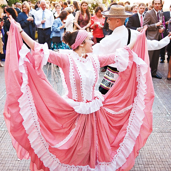 Professional dancers led guests to the outer courtyard, where they performed traditional Colombian folk dances. Photo by Erin Beach.