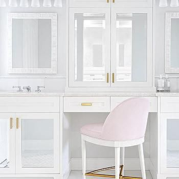 Mirrored Make Up Vanity Cabinets with Blush Pink Stool