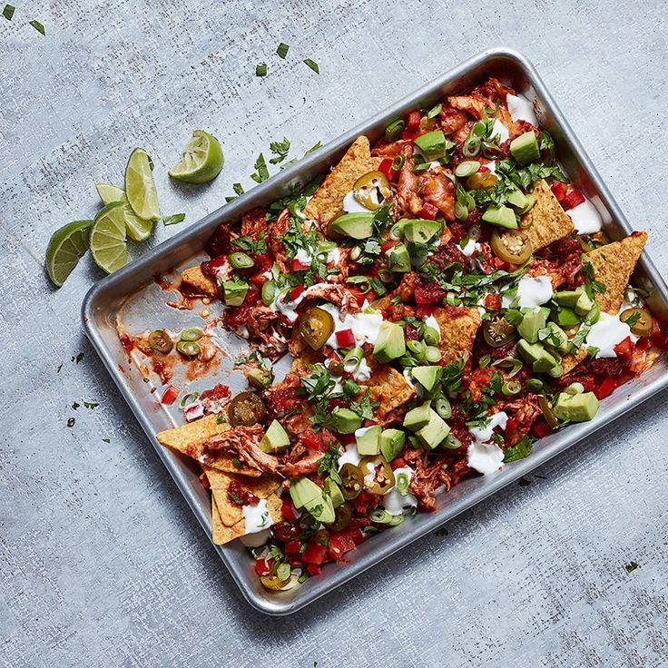 Chipotle-Pulled Chicken Nachos with Avocado and Lime Cream | Healthy Recipes