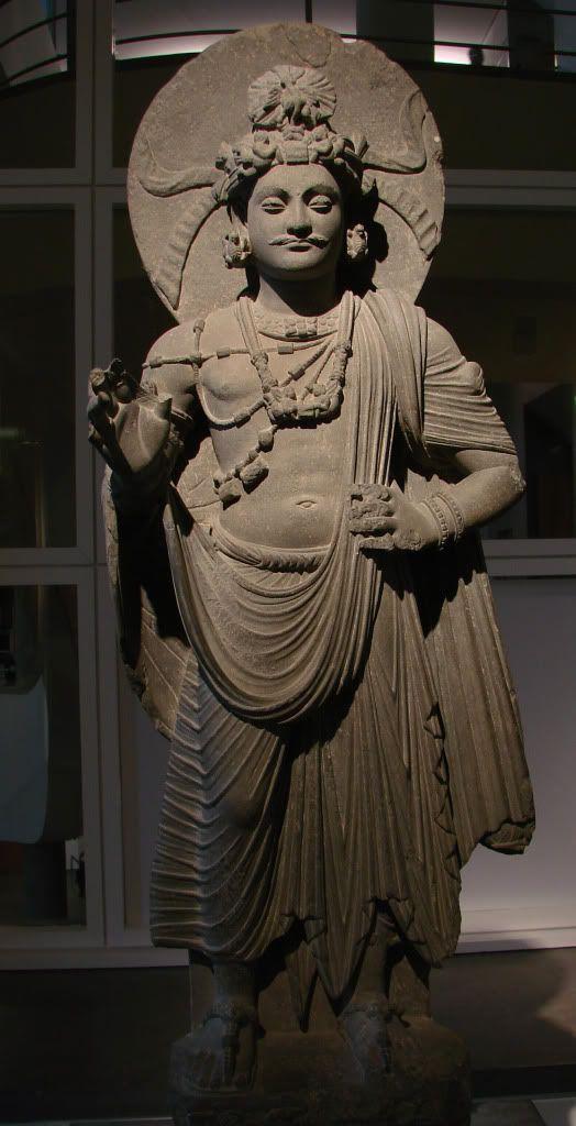Standing Bodhisattva. Gandhara,  2nd - 3rd century CE.  tMuseum für Indische Kunst, Berlin