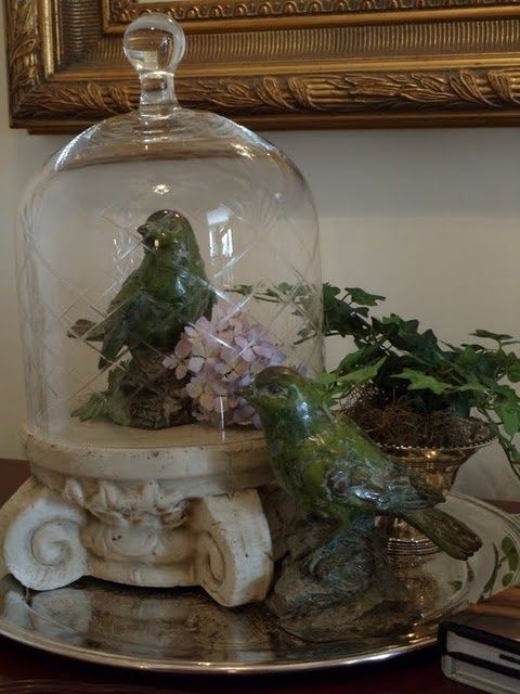cloche decorating | cloche atop a capital on a silver platter - some of my ... | Cloches