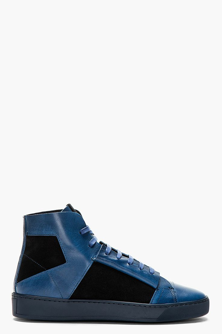 CALVIN KLEIN COLLECTION Navy Leather High TOP Jay SNEAKERS