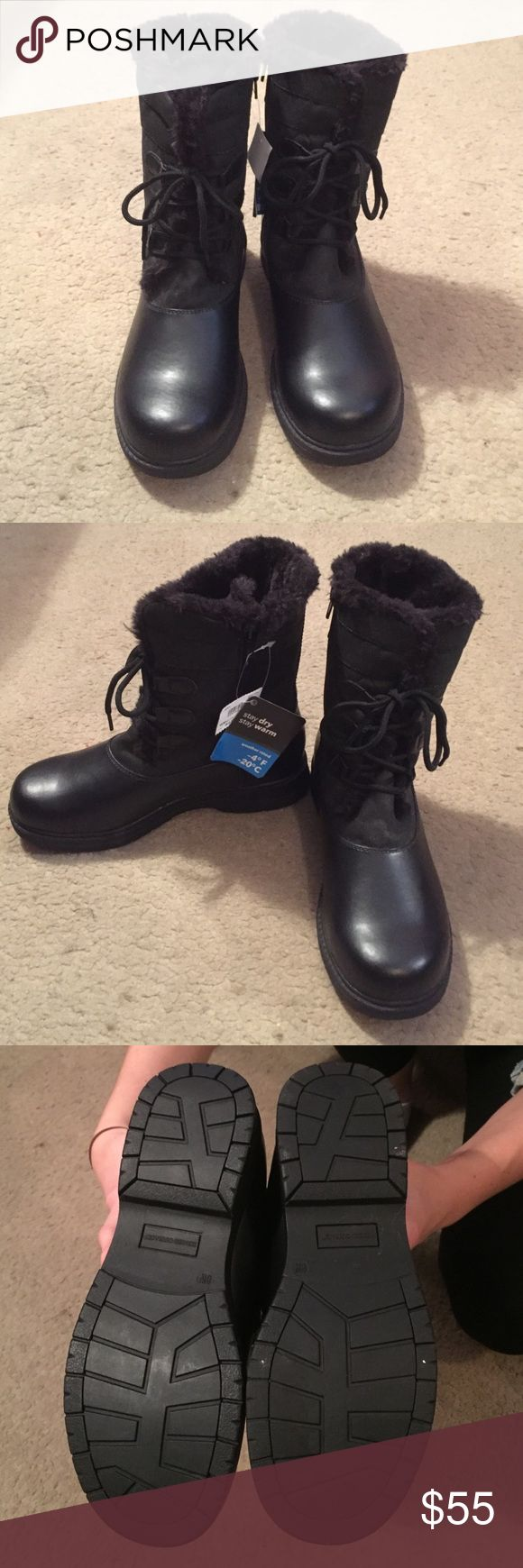 NWT Womens Polar Quilted Weather Boot NWT Black winter boots with soft fur lining. Cute diamond pattern on the outside with easy side zipper. Wear them in the rain or snow! Rugged Outback Shoes Winter & Rain Boots