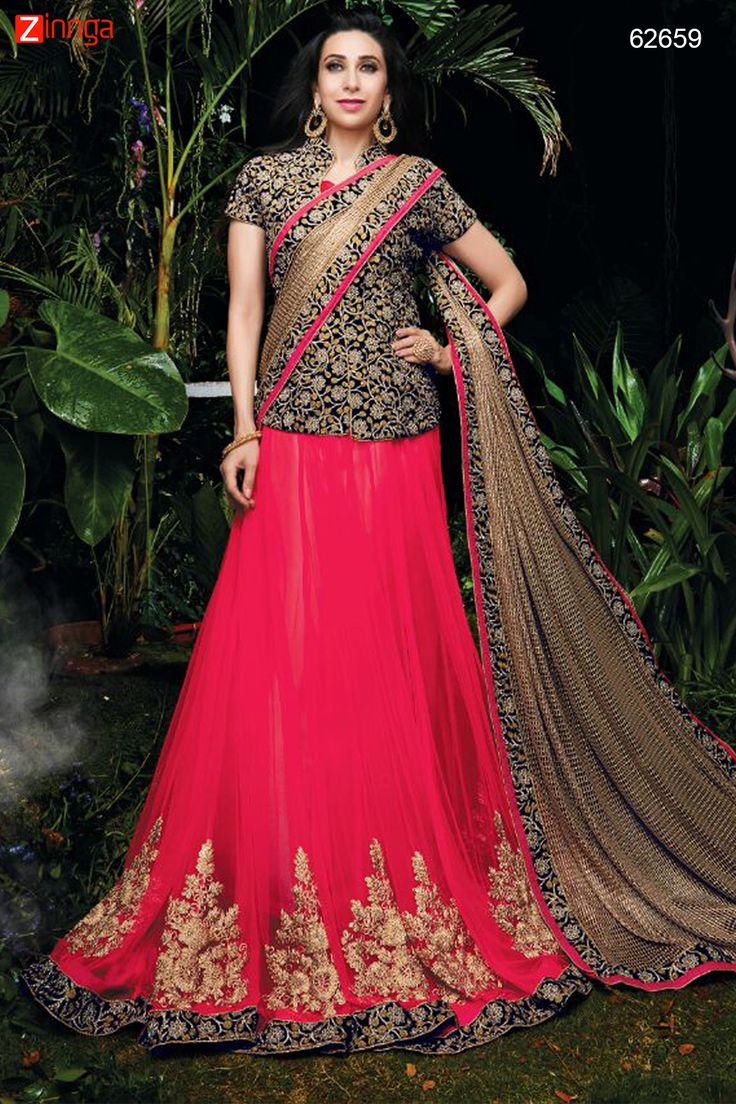Karishma Kapoor ! Black & Crimson Super Net Saree. Message/call/WhatsApp at +91-9246261661 or Visit www.zinnga.com