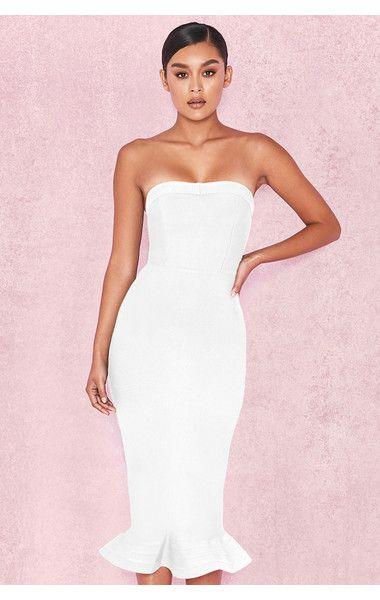 9166f35db1ce Fabrizia' White Bandage Strapless Fluted-Hem Dress | HouseofCB in ...