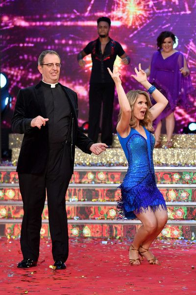 Contestants Reverend Richard Coles and Charlotte Hawkins attend the 'Strictly Come Dancing 2017' red carpet launch at The Piazza on August 28, 2017 in London, England.