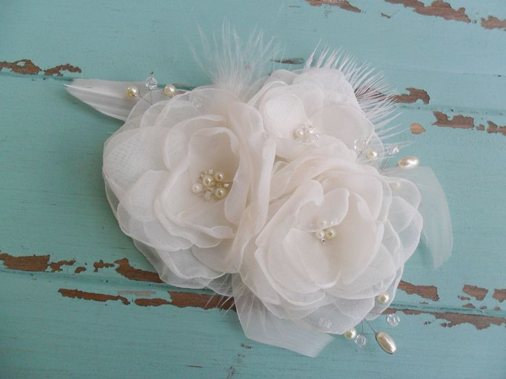 Floral hairpiece, Bridal Hair Accessory, Organza Headpiece, Wedding Hair Comb, Feathered Fascinator,Bridal Hair Comb, Wedding Hair Accessory by DarlasBlooms on Etsy https://www.etsy.com/listing/240236451/floral-hairpiece-bridal-hair-accessory