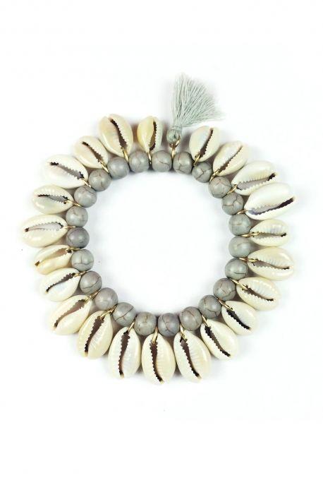 Bracelet Cowrie gris