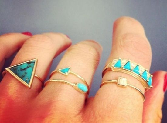turquoise + gold rings.