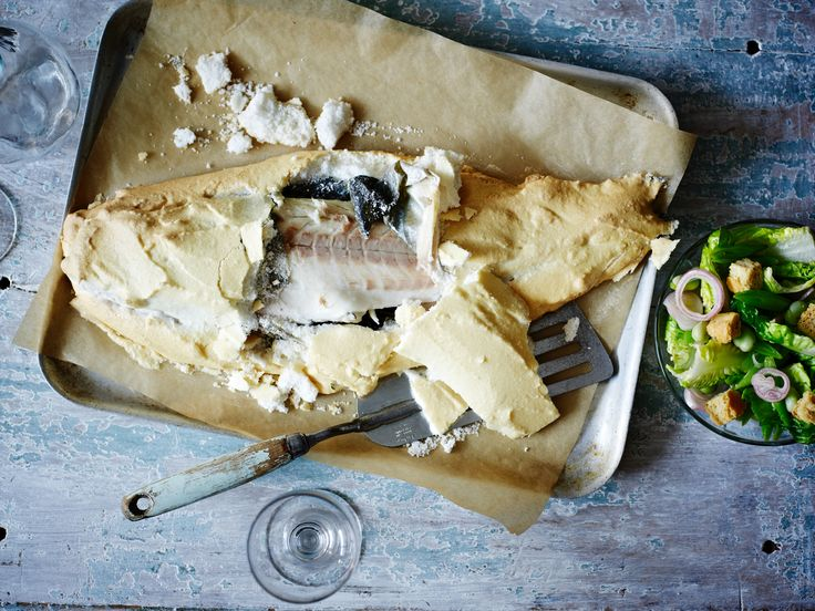 Sea bass baked in a salt crust makes for beautifully moist fish. Serve ...