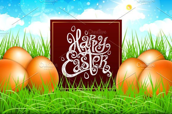 easter egg green grass blue sky by Rommeo79 on @creativemarket