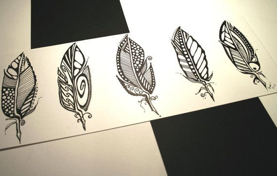 Five Feathers . Original Pen Drawing . Abstract Art . Minimalist Art . Black and White Art