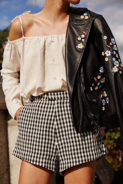 £15 ASOS TALL White And Black Gingham Culotte Shorts Teamed WIth Embroidered Leather Jacket
