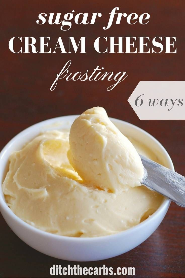 This is the easiest and yummiest sugar free cream cheese frosting I have ever made. Only 3 simple ingredients and 6 variations from the one simple recipe. | ditchthecarbs.com via @ditchthecarbs
