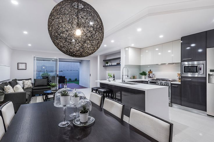#Kitchen #design #ideas from Ausbuild's Bellfield display #home. www.ausbuild.com.au. This #Kitchen is bright and airy and makes fantastic use of all available space. The #lighting #fixture is a stunning #black #mesh ball.