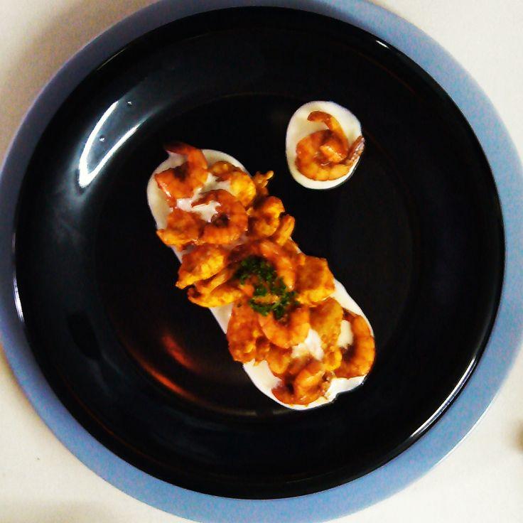 Gastronomía Psicótica: Escalopes d´Poulet aux sauce d´crevettes au Cognac.