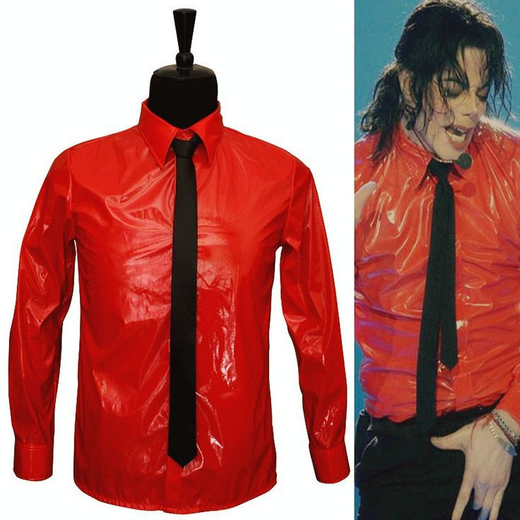 MJ In Memory of Michael Jackson Red Patent Leather Dangerous BAD Jam Shirt For Party Gift Halloween #Affiliate