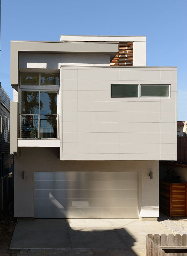 Single Family Home in Compact House Design: Single Family Home Exterior  Design With Sleek Wall