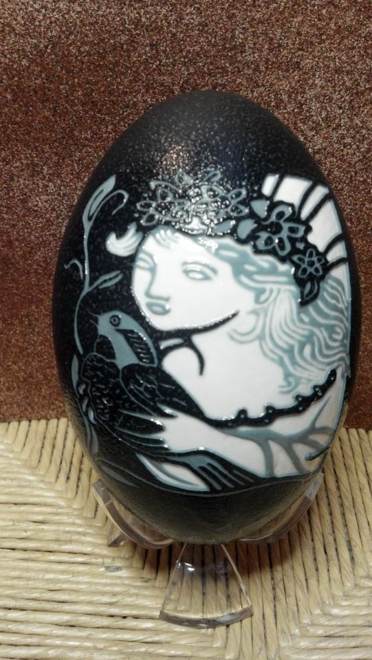Julia Hicks  This is an Emu Egg that has been carved by hand. The Emu Egg is fun to carve because you can achieve different colors depending on how deep you carve into the shell. This design comes from Fairies, Elves, and Gnomes pg. 25 design #109