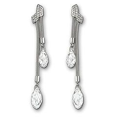 Swarovski Gillian Clear Crystal Boucles d'Oreilles -S'inspirant des gouttes d'eau, cette paire de boucles d'oreilles plaquées rhodium irradie d'élégance. Les cristaux clairs taillés en briolette scintillent sur une chaîne serpent. Des