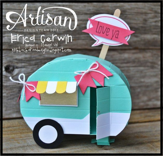 Coastal Camper - Erica Cerwin, I created this cute little camper for my Whole Lotta Love Project Planner. It's actually pretty easy to make! It also features the new Just Sayin' Stamp Set. For more details, please check out my blog: Pink Buckaroo Designs