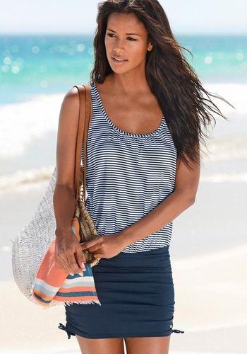 | LASCANA #Damen #Badeanzug-Kleid #blau / #weiß
