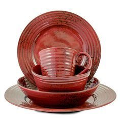 Rustique Stoneware Collection - Orchard Red (491571120), Stoneware Dinnerware Sets, Wooden Bowls & More | bambeco