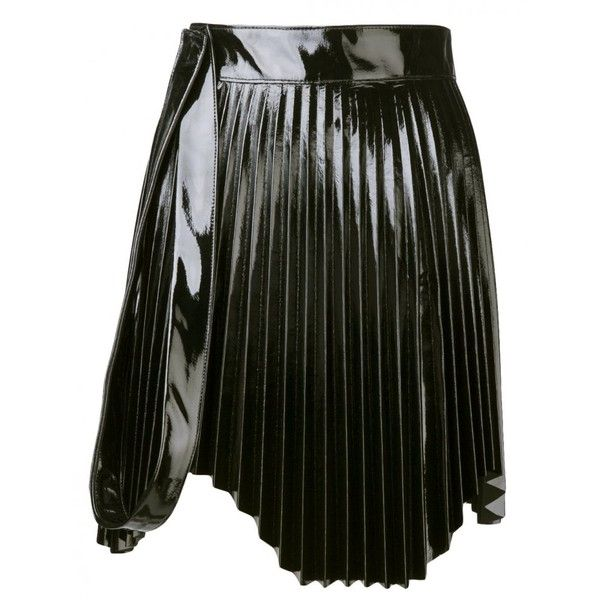 OLIMA - Accordion Pleat Skirt - PATENT PLEATED BLACK - H. Lorenzo ($1,125) ❤ liked on Polyvore featuring skirts, patent skirt, knee length pleated skirt, olima, pleated skirt and accordion skirt