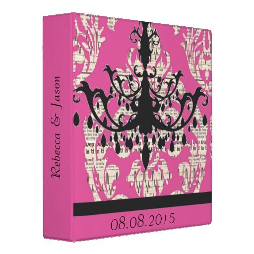 modern fuschia damask Chandelier vintage Wedding 3 Ring Binder  Click on photo to purchase. Check out all current coupon offers and save! http://www.zazzle.com/coupons?rf=238785193994622463&tc=pin