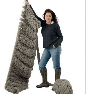 Te ense amos a tejer una manta con lana s per gorda y - Lana gorda para mantas ...