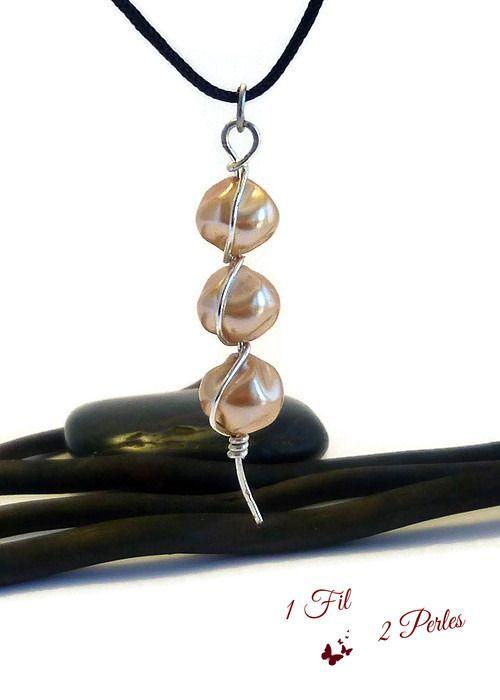 Collier Pendentif Triptyque 3 Perles Rose Nacré Wire wrapping : Pendentif par 1-fil-2-perles