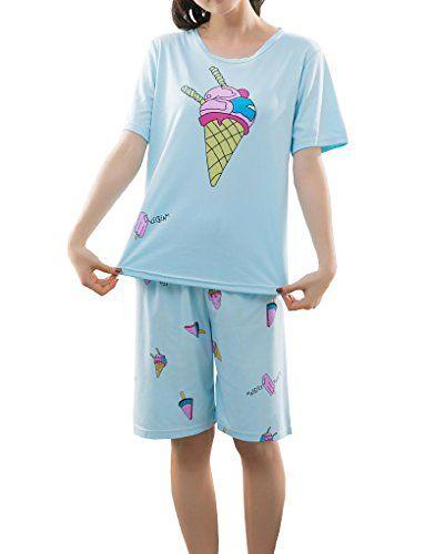 YUEXIN Big Girls Ice Cream Printed Pajama Sets Cute Summer Sleepwears 2  Pieces 6a89e4173