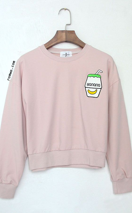 Pink Drop Shoulder Embroidered Sweatshirt - Love the Banana Milk reference :D