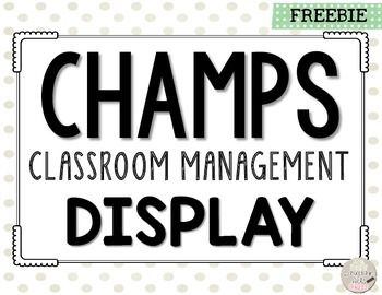 CHAMPS Classroom Management Display…free printable!