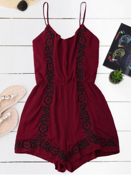 Cami Floral Embroidered Romper - WINE RED ONE SIZE