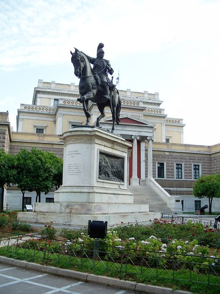 The statue of great general and hero, Theodoros Kolokotronis, in front of the Old Greek Parliament building