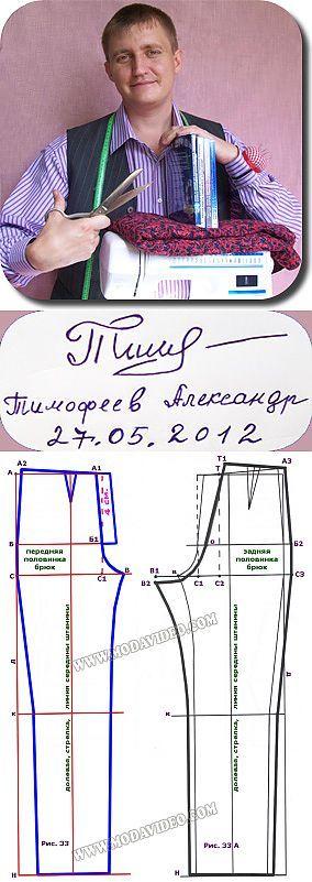 El alfabeto de la costura de Alejandro Timofeeva. La construcción del patrón de la BASE de los pantalones femeninos, de hombre e infantiles.