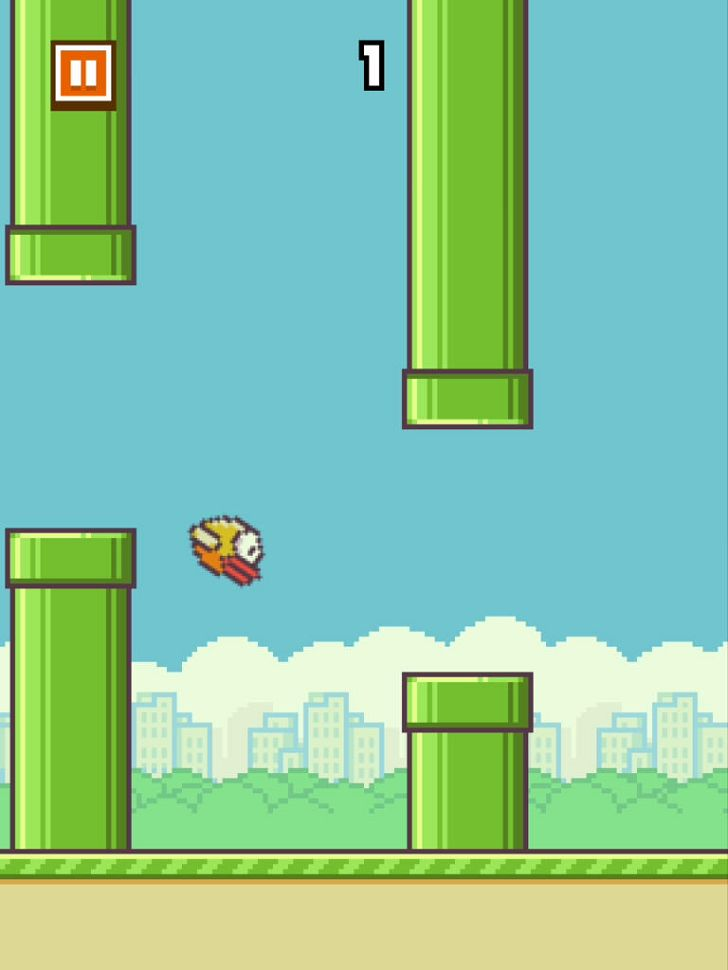 Flappy Bird. The most frustrating game ever.  This goes out to Rhiannon. hahaha www.flappybirds.co.uk