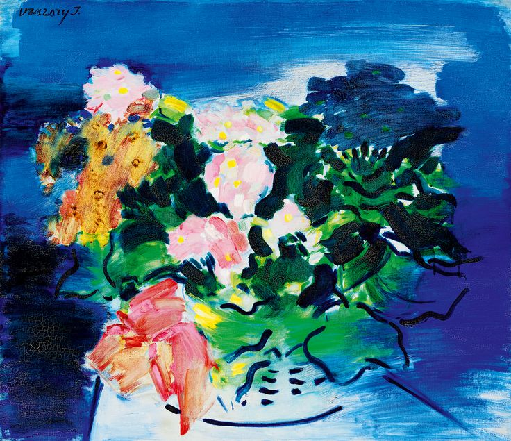 Beautiful painting on canvas of flowers in a vase with a blue background by Vaszary János