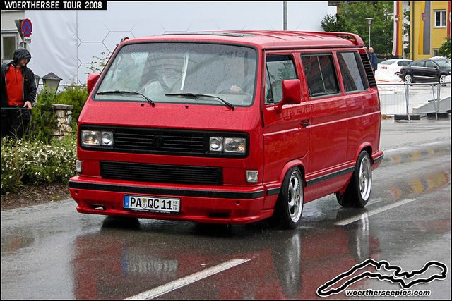 Lowered Red VW T3 on Porsche Wheels at the Wörthersee Tour 2008 by retromotoring, via Flickr
