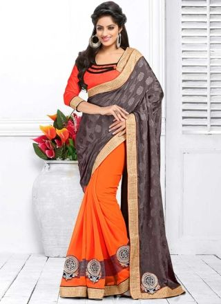 Deepika Singh Orange And Grey Jacquard Georgette Half N Half Saree